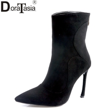 Doratasia/2017 г. фирменный дизайн малыш замша с острым носком женская обувь пикантные женские тонкие Обувь на высоком каблуке праздничные ботильоны черный
