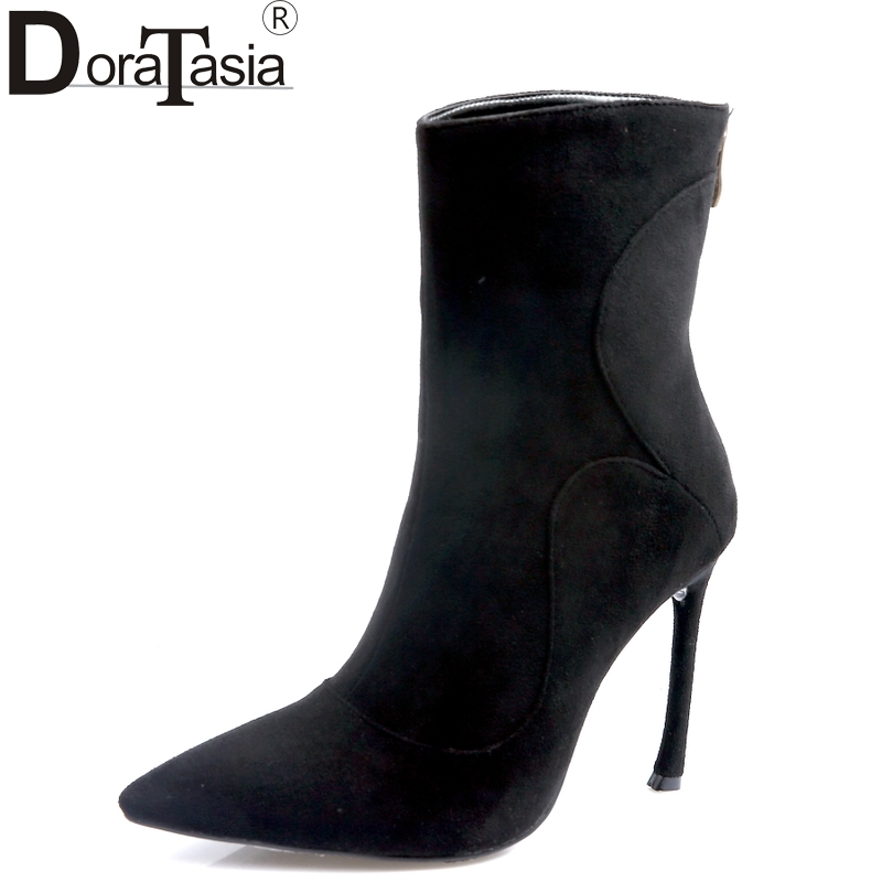 DoraTasia 2017 brand design kid suede leather pointed toe women shoes woman sexy thin high heels party ankle boots black doratasia denim eourpean style big size 33 43 pointed toe women shoes sexy thin high heel brand design lady pumps party wedding