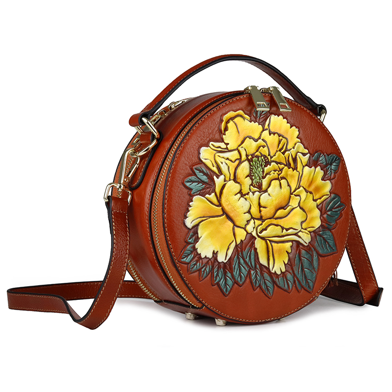 Hot Brand Barrel-shaped Flower Cross-body Bag Cowhide Large Capacity Double Compartment Women Totes High Quality Evening BagsHot Brand Barrel-shaped Flower Cross-body Bag Cowhide Large Capacity Double Compartment Women Totes High Quality Evening Bags