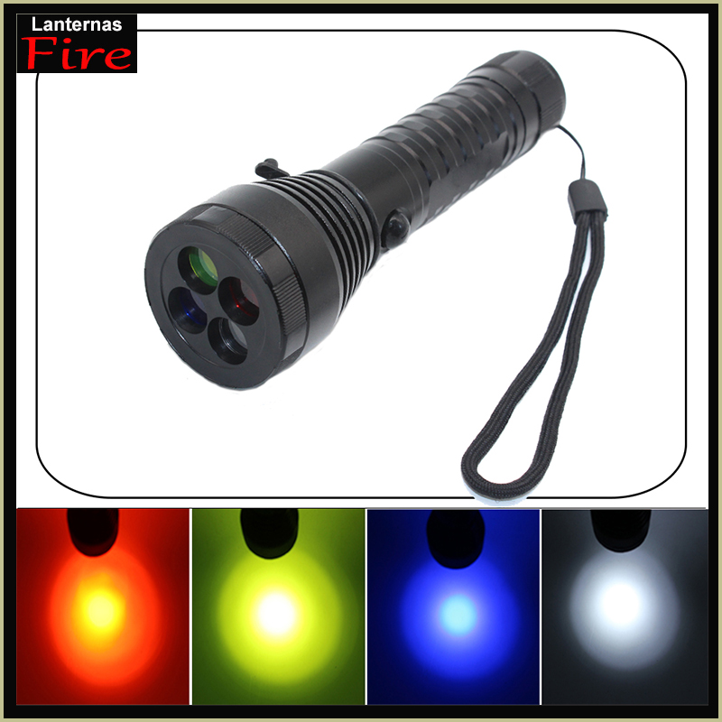 High power Cree XML T6 3800 lumen led Flashlight torch Lnaternas 4 color Light filter Emergency