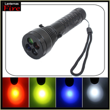 High power Cree XML T6 3800 lumen led Flashlight torch Lnaternas 4 color Light filter Emergency Signal Light by 18650 or AAA