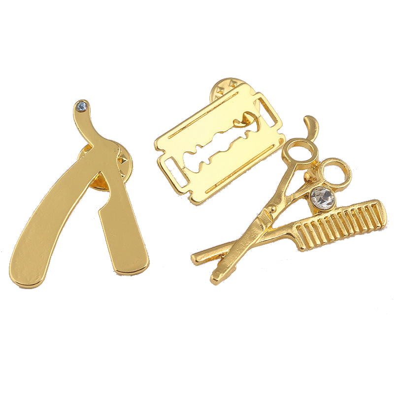 Cute Barber Razor Blade Scissor Brooch Trendy Cosmetologist Tool Brooches Pins Fashion Jewelry Hairdresser Gifts In From Accessories