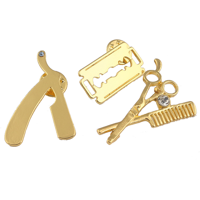 Cute Barber Razor Blade Scissor Brooch Trendy Cosmetologist Tool Brooches Pins Fashion Jewelry Hairdresser Gifts