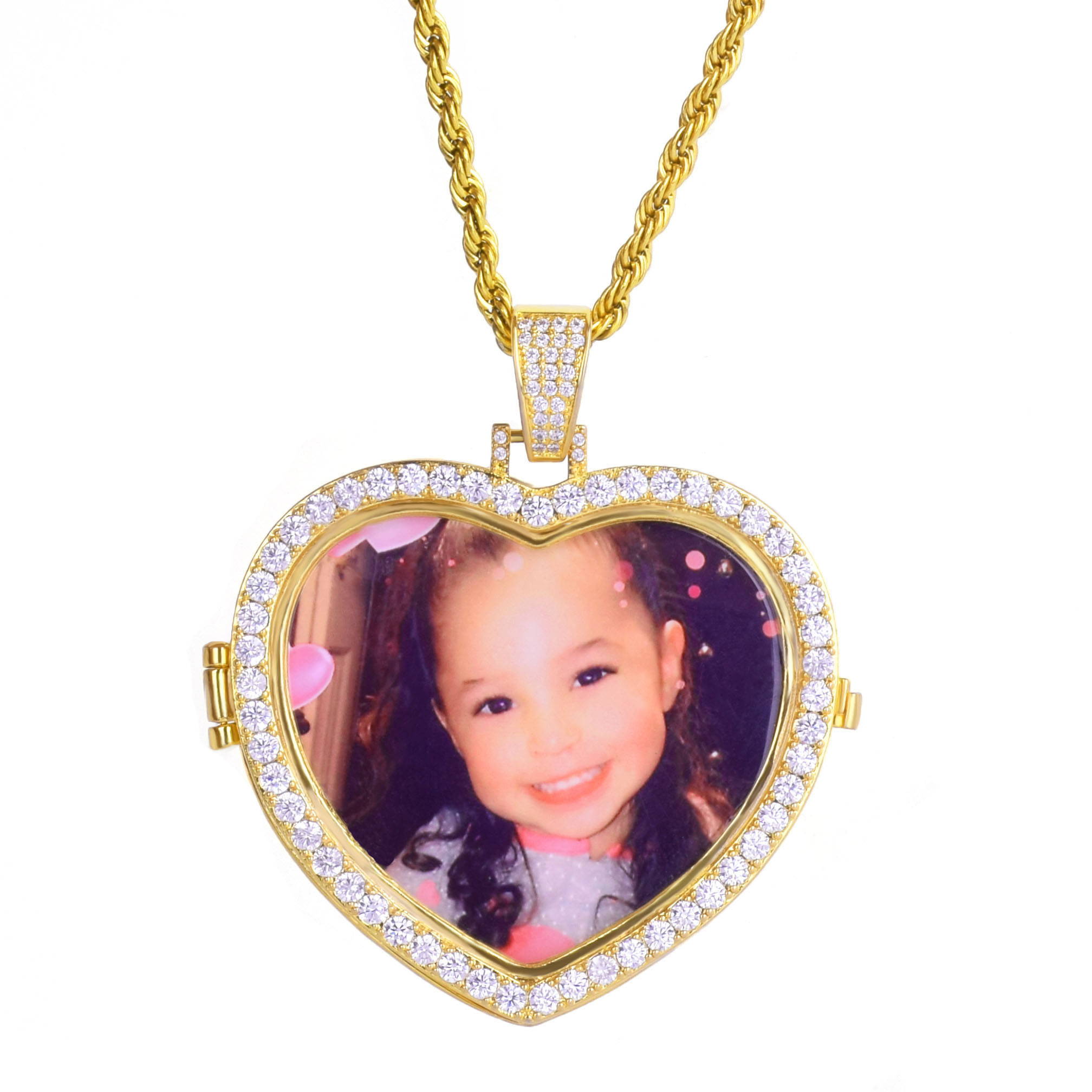 Image 5 - Custom Made Photo Heart Medallions Necklace & Pendant with 4mm Tennis Chain Gold  Color Cubic Zircon Mens Hip hop JewelryPendant Necklaces   -