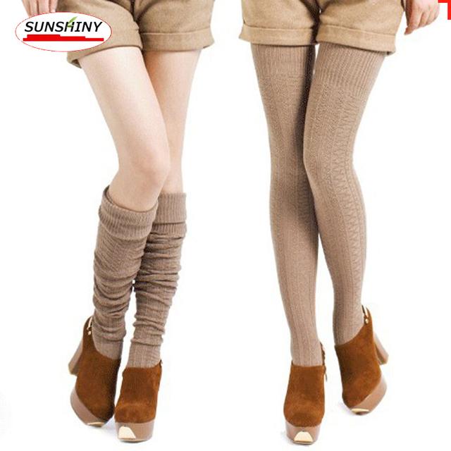 Otoño e invierno moda media medias de la rodilla, comodidad de lujo de las mujeres super-stretch knit medias CD26