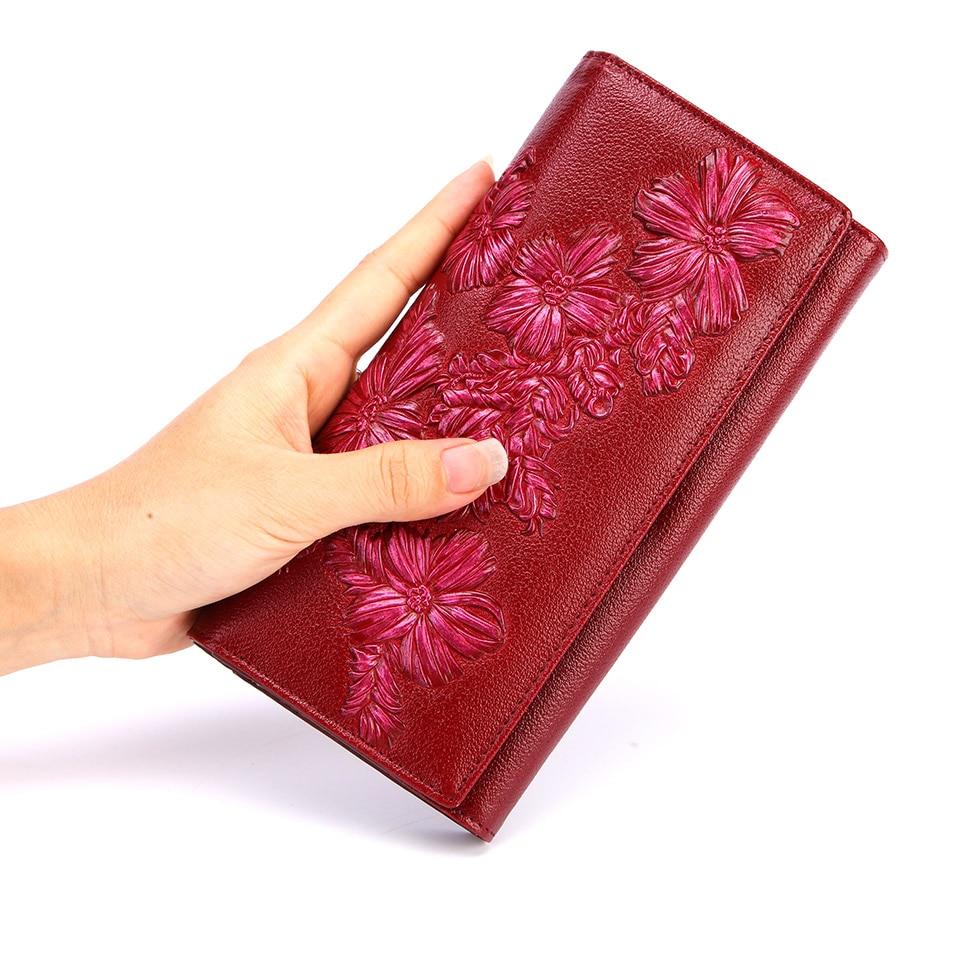 Women Genuine Leather Wallet Long Leather Clutch Purse Hasp