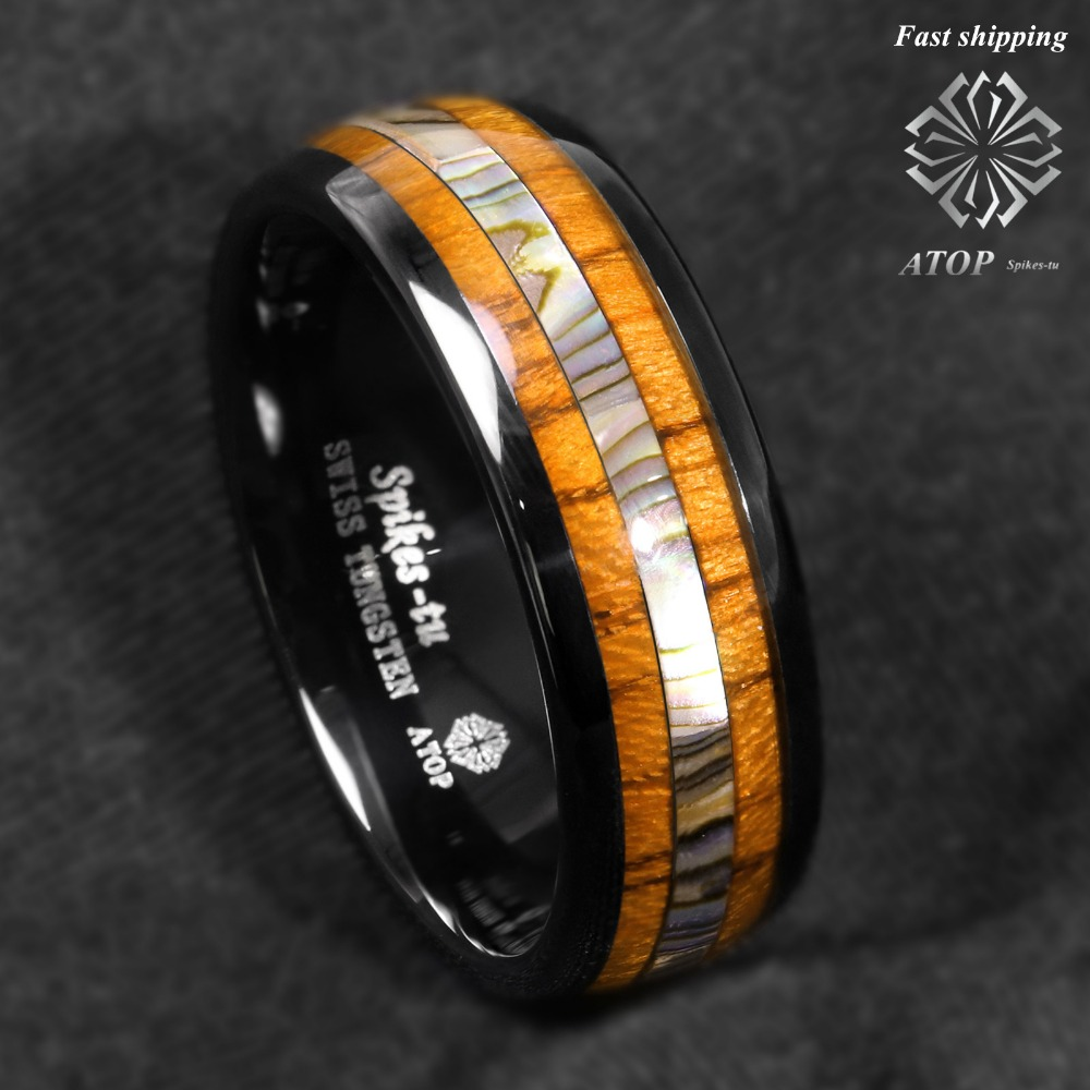 Anillo de carburo de tungsteno negro de 8mm Koa madera abulón en la parte superior de la joyería de los hombres de la banda de boda