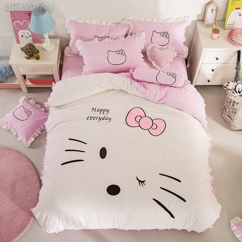 Home Textile Hello Kitty Bedding Set FlatFittedskirt Sheet For Women Kids Gift Bed Linens Duvet Cover Pillowcases Sets