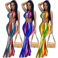 2018 Sexy Hollow Out Summer Jumpsuits And Rompers Women Halter Striped Print Boho Club Party Wide