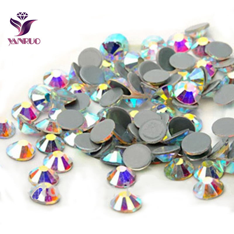 YANRUO 2058HF Crystal AB Hot Fix Rhinestones Crystals DIY Flatback Strass  Stones Iron on Rhinestone For 60e11bcfa779