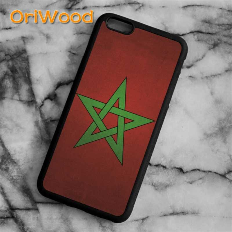 OriWood maroc marrocos bandeira da tampa do Caso Para o iphone 6 6 S 7 8 Plus X 5 5S SE Samsung galaxy s5 S6 S7 borda S8 Plus Nota 8 shell