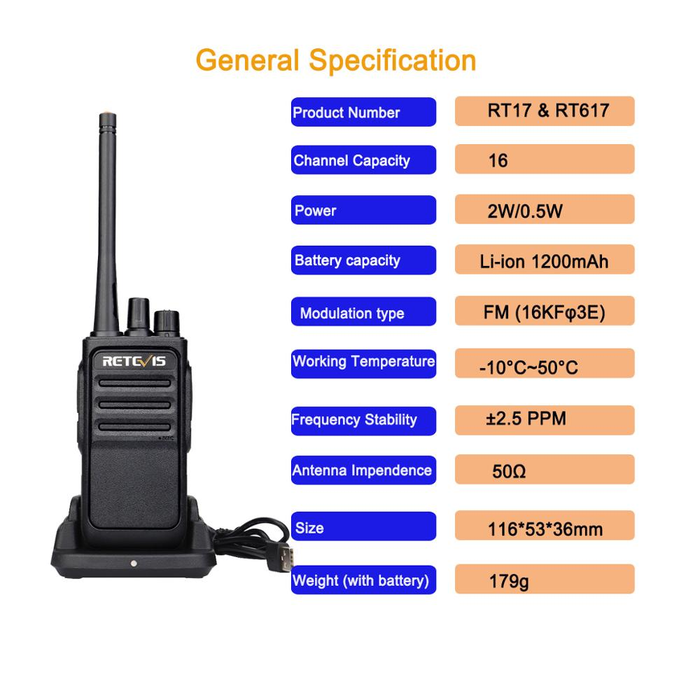 Image 4 - Un par Retevis RT617/RT17 Walkie Talkies PMR Radio PMR446/FRS VOX USB carga práctica 2 vías Radio estación Comunicador transceptorTransceptor   -