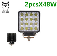2Pcs 48W LED Work Light 12V IP67 Spot Flood Fog Light Off Road ATV Tractor Train