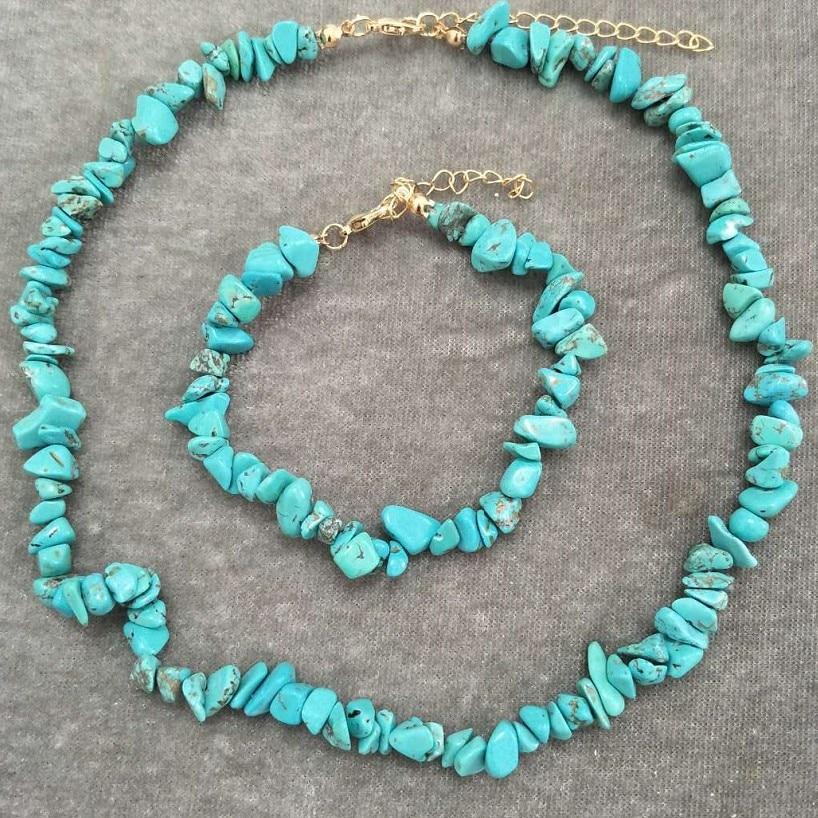 Rainbery Bohemia Natural stone Beads Bridal Jewelry Collares Handmade Chain Necklace/Bracelet Jewelry For Womem