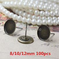 Ücretsiz Kargo 100 adet Diş Tepsi boyutu: 8/10/12 MM Pirinç Antik bronz Damızlık Küpe cameo Cabochons baz ayarları