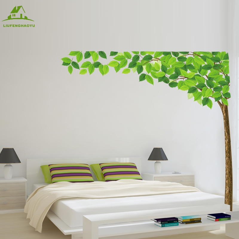 Large size green tree diy vinyl wall stickers home decor for Diy tree wall mural