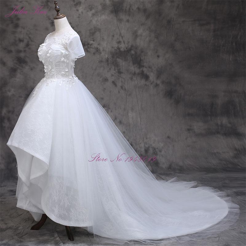 2017 Vestidos De Novias cu mica floare 3D cu maneci scurte o linie - Rochii de mireasa - Fotografie 3