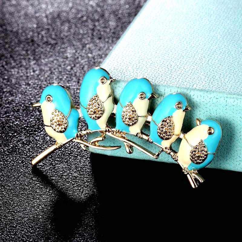 Zlxgirl Fashion Pria Lima Pengantin Bentuk Bros Perhiasan Beberapa Wanita Vintage Enamel Pin Syal Wanita Karton Tas dan topi Pin