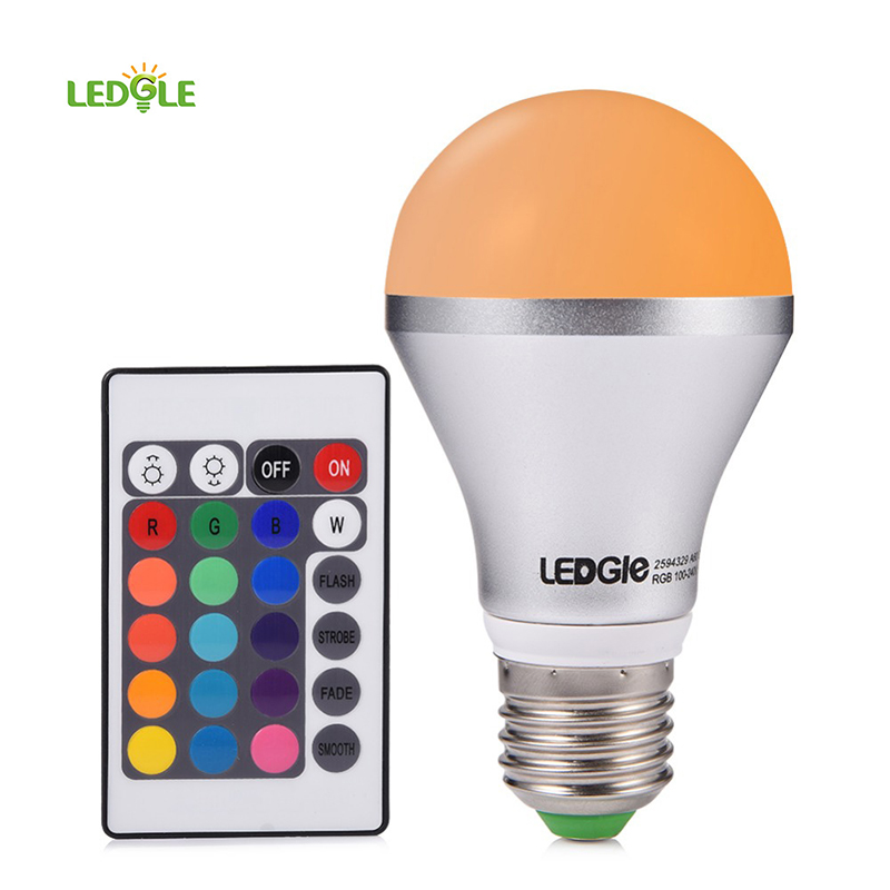 LEDGLE 16 Colors Choice 5W 160Degree LED A60 E26 RGB LED Bulb LED Light Bulbs Remote Control Color Changing Light Bulb ...