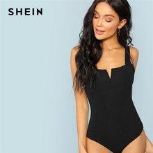 SHEIN Black V-Cut Front Bodysuit Sexy Straps Plain Skinny Sleeveless Bo