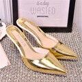 2017 de oro y plata de color de moda de verano con sandalias del dedo del pie puntiagudo zapatillas de tacón alto tacones delgados de las mujeres sandalias medio-zapatillas