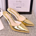 2017 summer fashion gold and silver color with sandals pointed toe high heel slippers thin heels women's sandals half-slippers