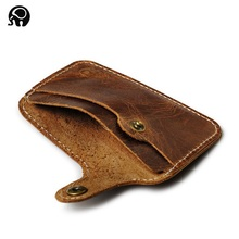 Wholesale Retro Leather Card Wallet Men Business Bank Card Holder Thin Credit Card Case Convenient Small Cards Pack Cash Pocket cheap Genuine Leather Cow Leather Unisex Solid 6 7cm XXY8R047 10cm Card ID Holders No Zipper Fashion Cowhide Business Card Holder credit card Holder
