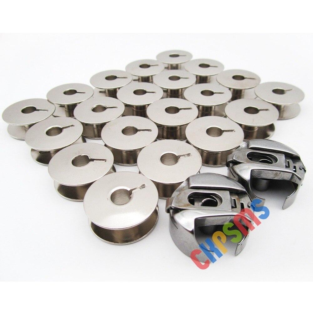 2PCS Bobbin Case 9076 14mm + 20 BOBBINS fit for PFAFF 130 230 800 1211 1222 #BC-PF9076(14)-NBL 2PCS+9033S 20PCS(China)
