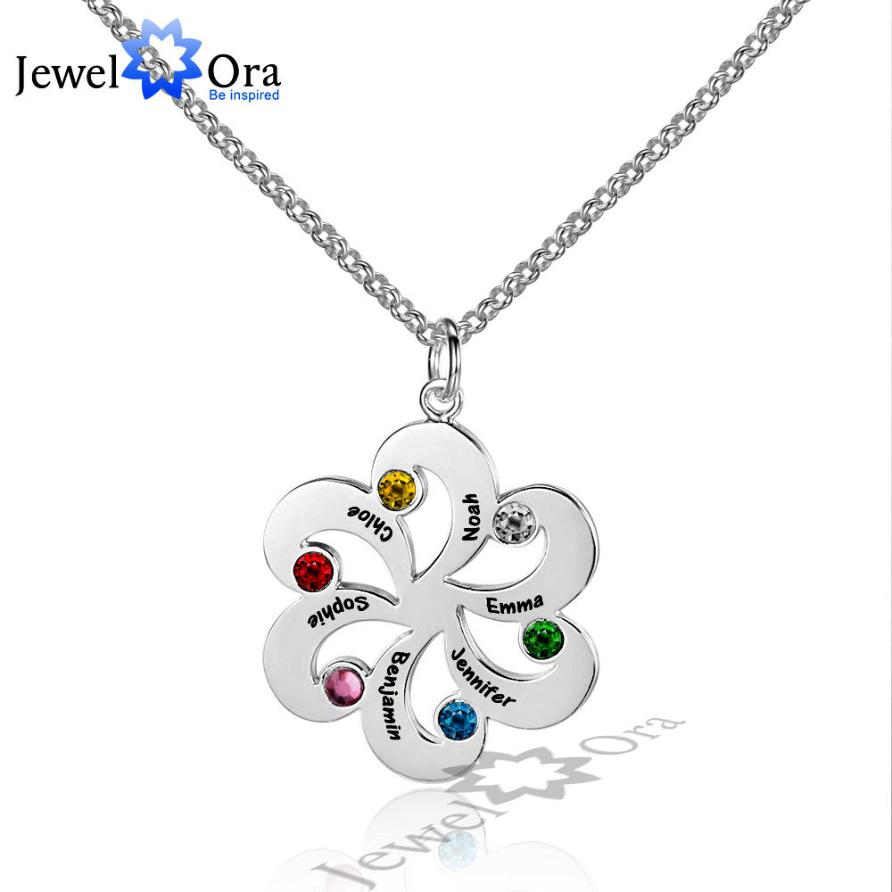 Personalize 925 Sterling Silver Flower Name Necklace DIY Birthstone Friendship & Family Christmas Gift (JewelOra NE101607)