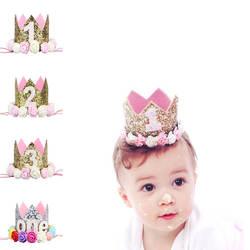 Для маленьких мальчиков девочек вечеринка по случаю Дня рождения шляпа цветок цена ss цена Crown 4 Дизайн Блеск вечерние мультфильм Шапки
