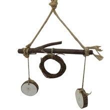 Последние натурального дерева ротанга круг Качели Попугай птица стоя палки frame жевательная игрушка игры качели щенок домашних птиц попугай стоял
