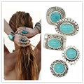 Chic Unisex Jewelry Tibetan Silver Ring For Women Carved Genuine Turquoise Party