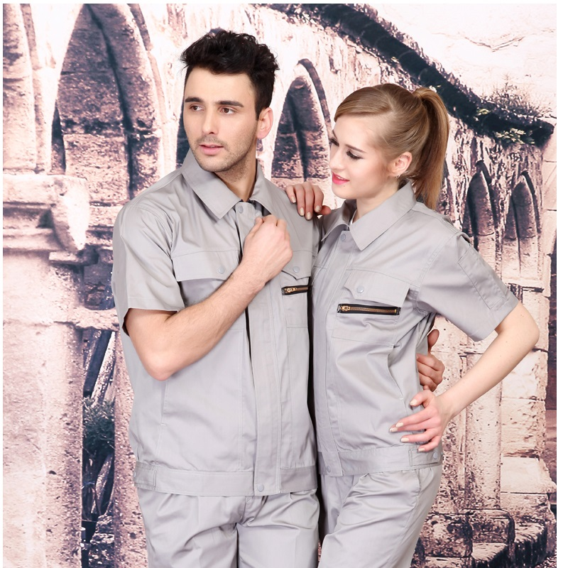 (10 Set-Shirt&Pant)Anti-static Short-sleeved Work Clothes Suit Men's And Women's Gas Station Workers Electrician Work Clothes