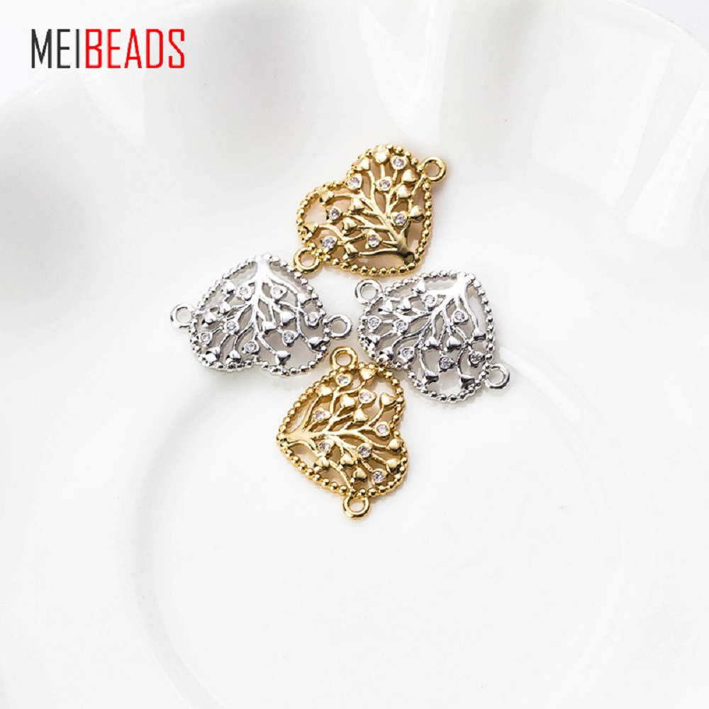 MEIBEADS 1PC Micro Pave Heart Tree Charm Copper Pendant For Necklace Bracelet Connector Women Gift Jewelry Accessories EY5543