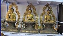 Tibet Tibetana de Bronce Dorado Del Dragón Tailandia Ayutthaya Sakyamuni Buddha statue Set