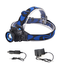 Headlight Cree Q5 Waterproof LED Headlamp Built-in Lithium Battery Rechargeable Head lamps 3 Modes Zoomable with Charger