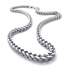 Jewelry, Men's Necklace, Stainless steel buckle chain necklace, Silver, 6 mm wide, 55 cm long
