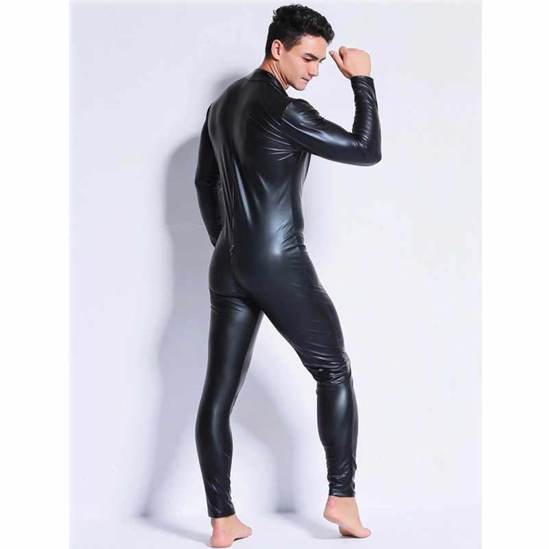 Erkekler Seksi Wetlook Faux Deri Lateks Catsuit Bodysuit Sıcak Erotik Iç Çamaşırı zentai eşcinsel fetiş Giyim pvc kostüm Açık Crotch Clubwear