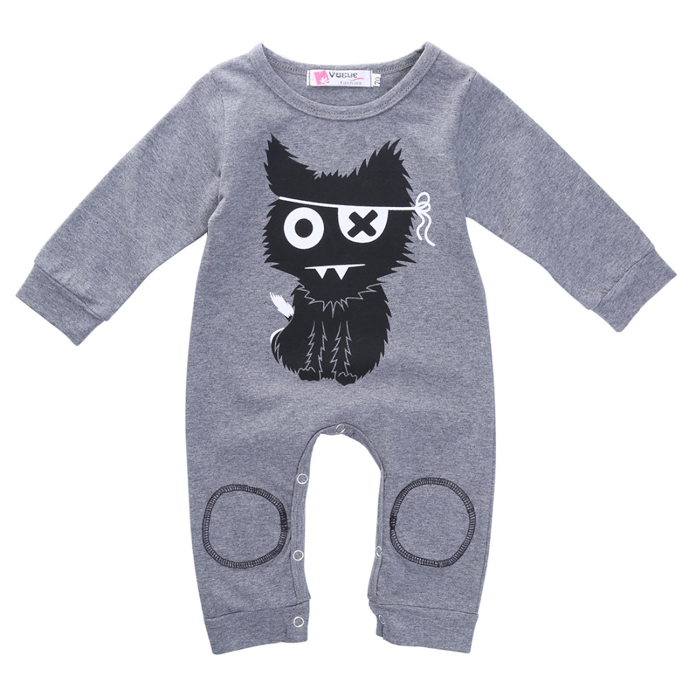 2016 Newborn Baby Boy Girl Cat Circle Print Long Sleeve Cotton Romper Playsuit Jumpsuit Onesie Clothes