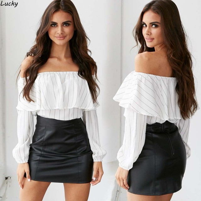 5397d354cfb 2016 NEW Autumn Fashion Trend Women s Smock Top Off Shoulder Cute Brief Ruffles  Girl s PETITE Structured Bardot Top Short Blouse