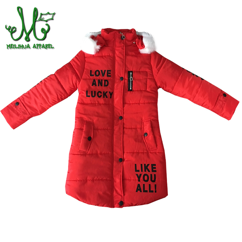 Girls Winter Coats Jackets Children Hooded Fur Coat Girl School Christmas Cute Outwear Kids Warm Print Letter Jacket 10 12 Year brand children coat jackets stripe cute rabbit ears hooded wool coats for girl kids double breasted woolen jacket infant outwear