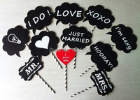 Free Shipping New Creative 11Pcs Set MRMRS Wedding Chalkboard On Paperstraws Wedding Photo Booth Props Party