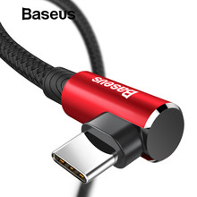 Baseus USB Type C Cable 90 Degree for xiaomi redmi note 7 USB-C Cable for samsung galaxy s9 plus Playing Game Charging USB Cable