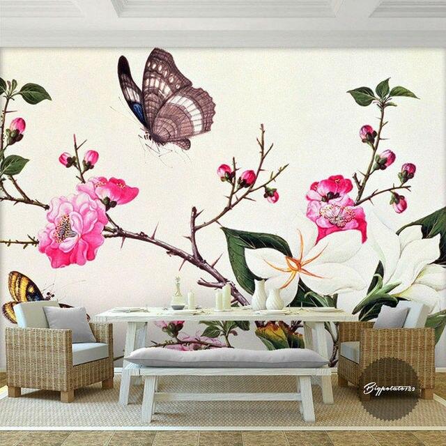 Custom 3D Wall Murals Flower & Butterfly Photo Wallpaper
