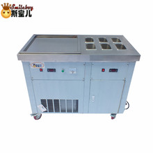 Fried Ice Cream Machine Maker with 6 Barrels Stainless Steel Hotel Commercial Yogurt Machine for Cake/bakery/drink/coffee Shop 48cm single round pan fried ice cream roll machine commercial fried milk yogurt machine ice cream maker nb100s