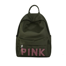 New Casual Backpack PINK Korean Sequin Letter College Wind Fashion Style School Bag Lady Travel