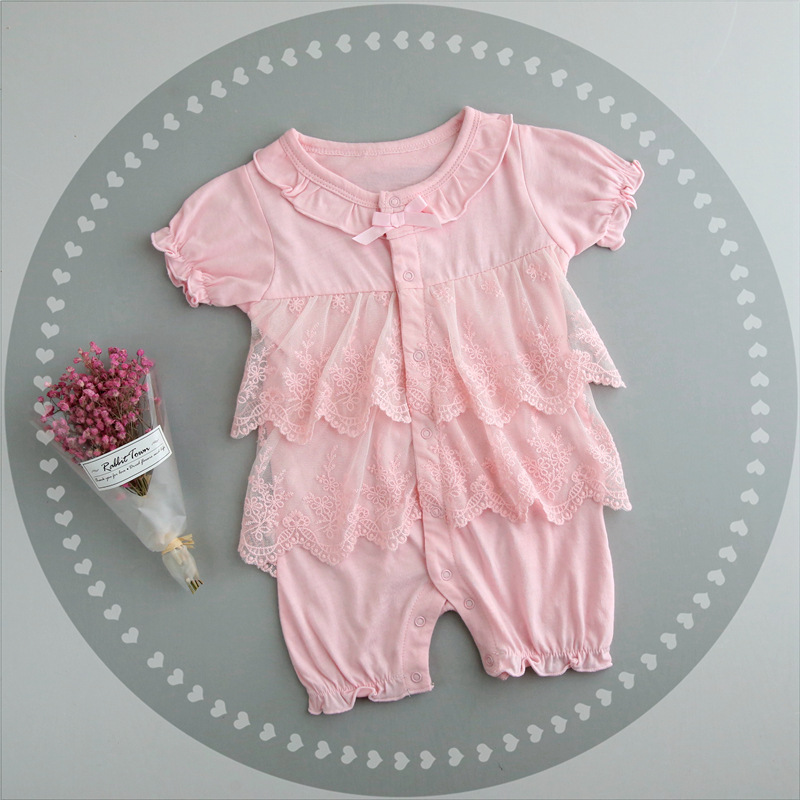 Newborn Baby Girl Clothes Pink Lace Princess Formal Dress Infant