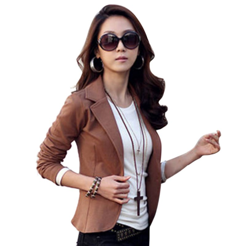 Casual Slim Solid Suit Jacket Coat Outwear Womens Fashion One Button Tops N2 H2
