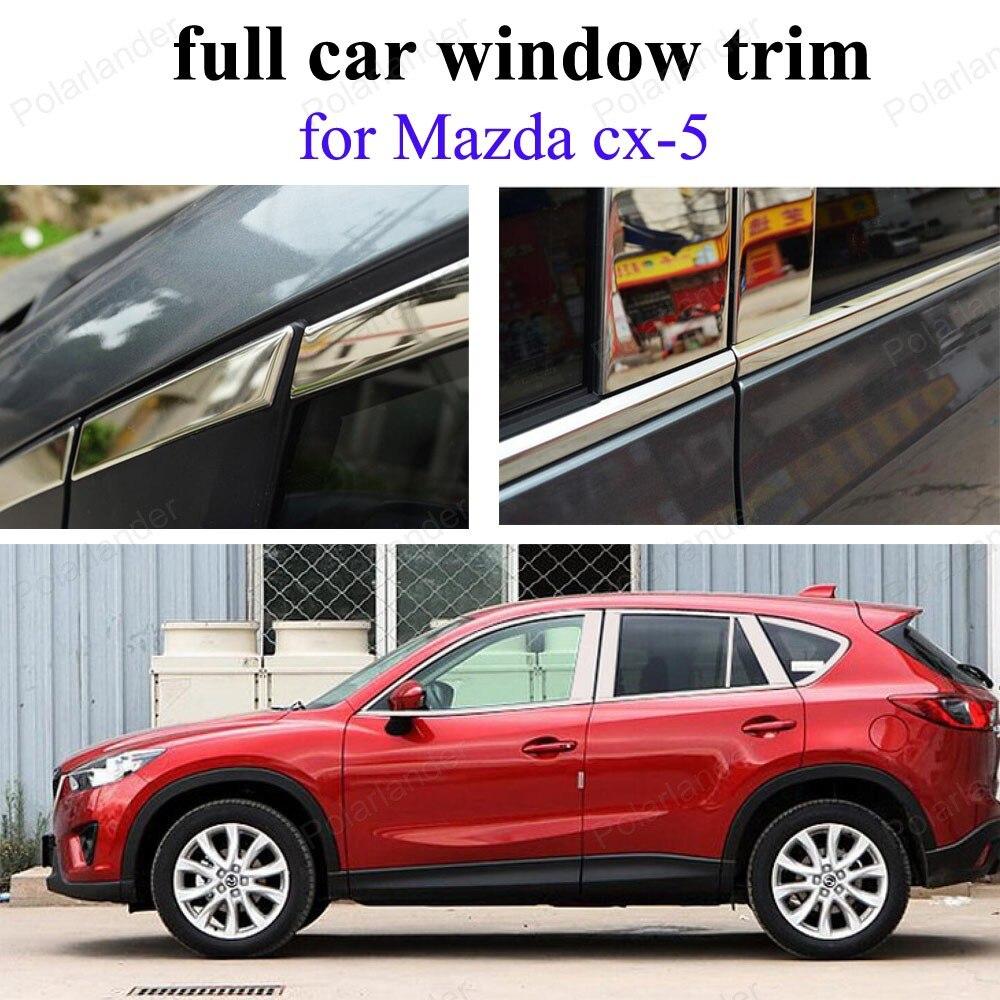 Bandes de décoration de garniture de fenêtre de voiture complète pour m-azda cx-5 avec colonne accessoires Auto en acier inoxydable
