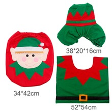 FENGRISE 3pcs Fancy Santa Claus Toilet Seat Cover Rug Bathroom Set Contour Rug Christmas Decoration Navidad Xmas Party Supplies